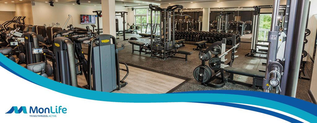 Monmouth Leisure Centre new gym after recent redevelopment including Technogym CV equipment and weights